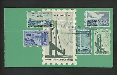 RANTO CACHET US FDC 1721 ON 1258 W/ 1012 961 1109 PEACE BRIDGE BRIDGES 1977