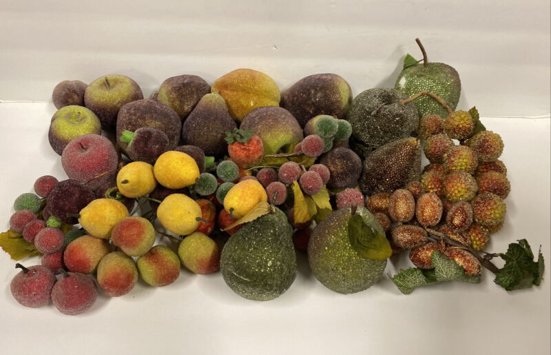 Over 24 Pieces Vintage Lot of Sugared Beaded Frosted Faux Assorted Fruit