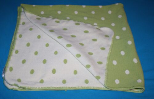 """Baby Cottontail Baby Blanket Soft Cotton Knit Green Ivory Polka Dots USA 36"""""""