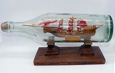 Vintage Philippines Tall Sailing Ship in Bottle