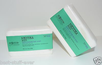 2 BATH BODY WORKS CO BIGELOW MENTHA EXFOLIATING BAR SOAP PEPPERMINT OIL MINT (Mentha Body Exfoliating Soap)