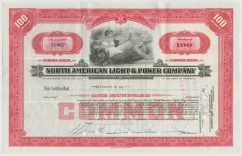 North American Light & Power Company Stock Certificate