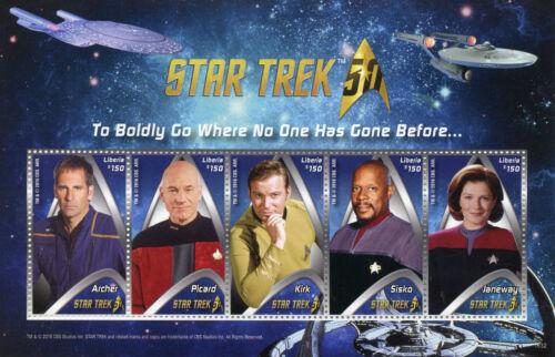 Liberia+Star+Trek+Stamps+2016+MNH+Captains+50th+Anniv+Kirk+Picard+Janeway+5v+M%2FS