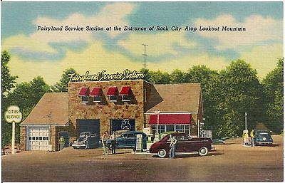 Fairyland Service Station at Entrance of Rock City TN Postcard Gas Pumps