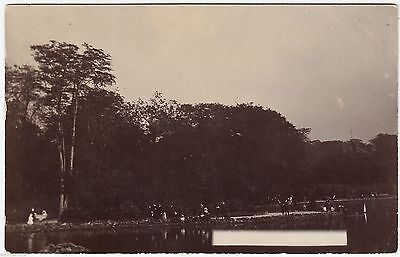 AN UNIDENTIFIED PARK LAKE   - c1900s Real Photo postcard