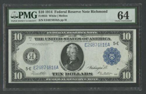 Fr923 $10 1914 Frn Richmond Pmg 64 Very Choice Unc Hw5520