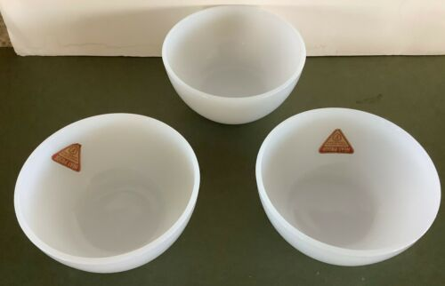 """3 Vtg Federal White Milk Glass round bowls  5""""  EUC F  Shield with paper labels"""
