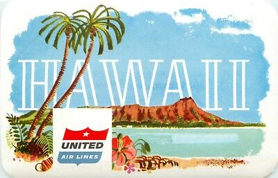Hawaii United Airlines (UNITED AIRLINES to HAWAII - Beautiful / Colorful Old Luggage Label, circa 1955)