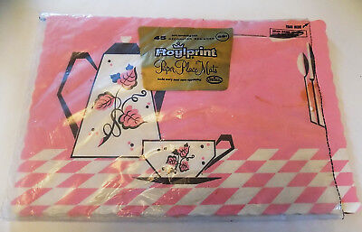 Vintage Pink & Black Paper Place Mats Placemats Set of 19 Roylprint