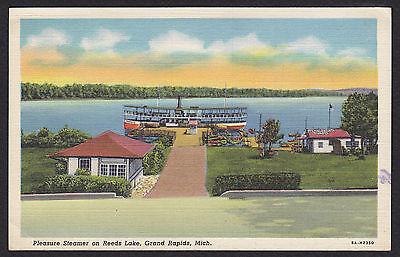 - Grand Rapids-Michigan-Reeds Lake-Ramona Park-Steamer-Vintage Linen Postcard