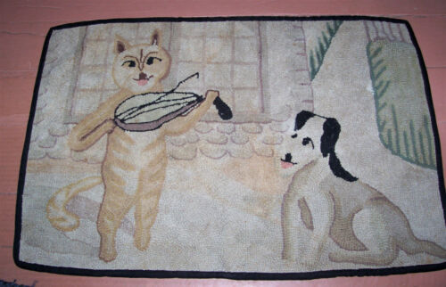 "Vintage Antique Handmade Cat Dog  Hooked Rug 25"" X 37"""