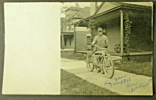 1911 MOTORCYCLE  RPPC real photo postcard