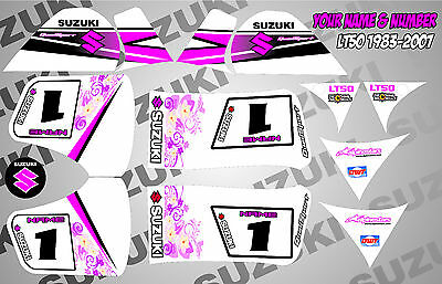 suzuki lt50 quad graphics stickers decals name & number mx laminate white pink
