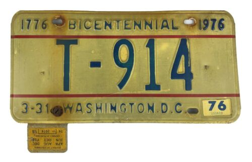 District of Columbia 1976 TRAILER License Plate T-914 w/ Inspection Sticker!