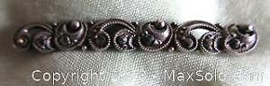 Vintage Sterling Silver Marcasite Scroll Style Pin