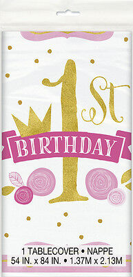 1st BIRTHDAY Pink and Gold PLASTIC TABLE COVER ~ Party Supplies Decorations Girl - Pink And Gold Birthday Party Supplies