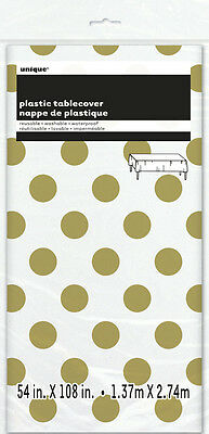 DOTS PLASTIC TABLE COVER ~ Birthday Wedding Party Supplies (Metallic Gold Party Supplies)