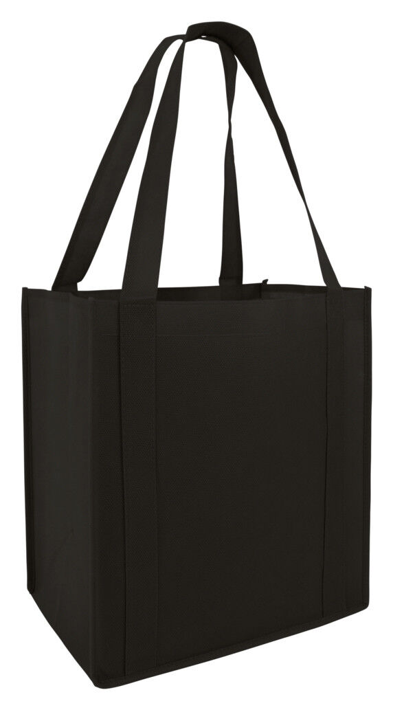 Grocery Bag Shopping  Black Reusable Eco Large Size Tote Str