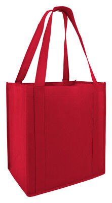 Reusable Eco Bag Grocery Tote Shopping Bag Red Strong Bottom Side Support Folds