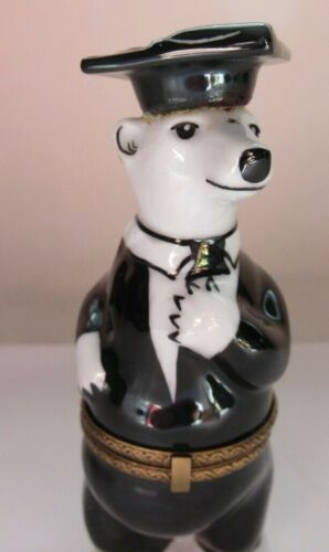 Peint Main Limoges Trinket-Polar Bear In Graduation Robe And Cap