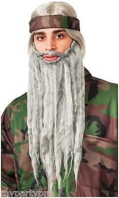 Halloween Costumes Beards (Duck Hunter Grey Beard & wig set Halloween costumes facial hair PARTY)