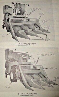 John Deere 335 435 Corn Head Attachment Parts Catalog Manual Fits 55 105 Combine