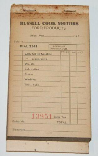 Vintage 1950s FORD & CROWN GASOLINE Store Receipt Book - Utica Mississippi
