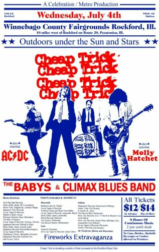 Cheap Trick 17 x 27 Rockford Illinois Fairgrounds Reproduction Poster - Rock