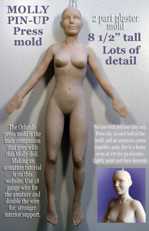 """8 1/2"""" FEMALE MOLLY full body PIN UP - 2 PART Press Mold by Patricia Rose"""