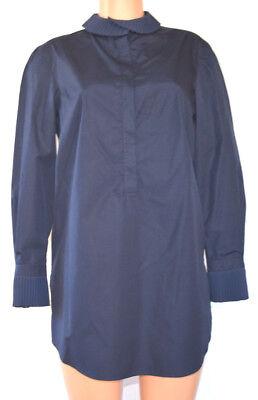 Akris Punto Blau Langärmlig Baumwolle Plissiert / Rüschenkragen Shirt Größe 40 - Rüschen-kragen-shirt