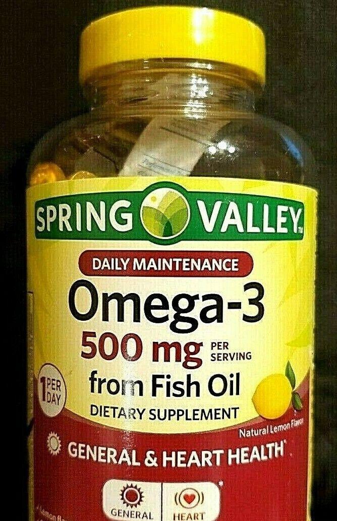 SPRING VALLEY..OMEGA-3 500mg..EPA 242mg..DHA 226mg..120 ONE A DAY GELS..NOV 2021