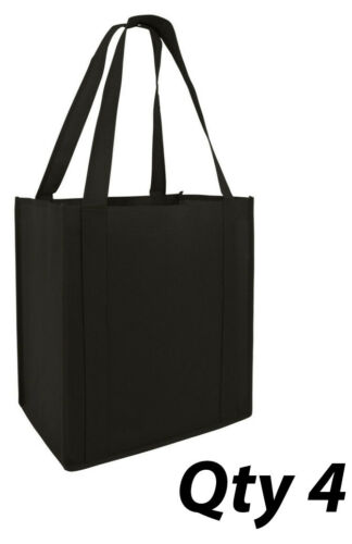 4 Grocery Bags Shopping  Black Reusable Eco Large Size Tote Strong Bottom Insert
