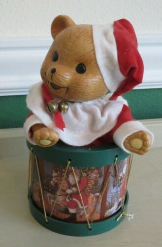 Christmas Teddy Bear in Drum Rotates Motion Music Box