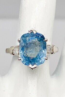 Antique $30,000 Certified 10ct NO HEAT BURMA Blue Sapphire Diamond Platinum Ring