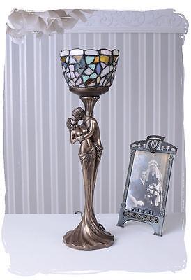 Tischlampe Skulptur Liebespaar Lampe Tiffany Schirm Leuchte Jugendstil