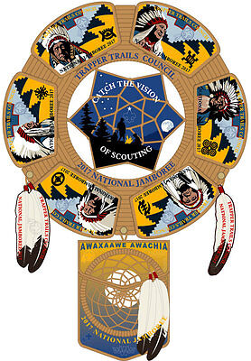 2017 Jamboree Trapper Trails Council Patch Set (One Piece) OA Awaxaawe Awachia