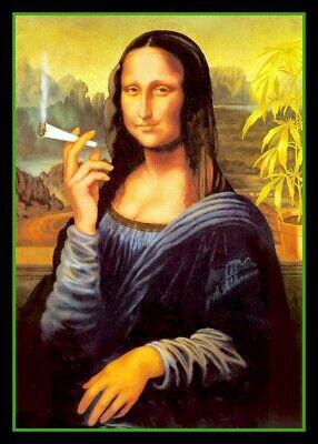 "4.5"" Funny Mona Lisa Smoking a Joint vinyl sticker. Marijuana, weed, pot decal."