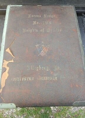 Vintage Knights of Pythias Lorena Lodge Photo Album 1887. Glover's Metal album