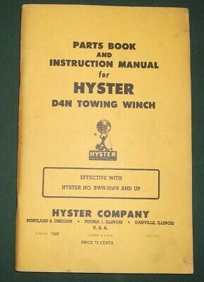 Hyster D4n Towing Winch Instruction Parts Service Repair Manual Cat D4 R4 Dozer