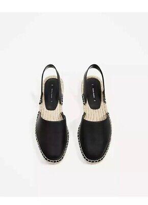 NWT Zara Women Espadrilles Sandals Black Size 6.5/7 EUR 38 Slingback Slip On
