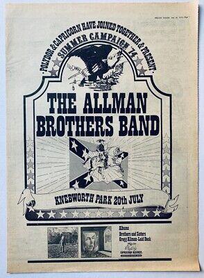 THE ALLMAN BROTHERS BAND 1974 vintage POSTER ADVERT UK CONCERT KNEBWORTH PARK