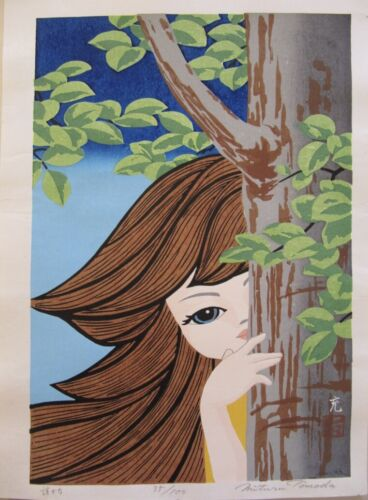 ORIGINAL SIGNED CONTEMPORARY Japanese woodblock  Mitsuru Tomoda girl by tree