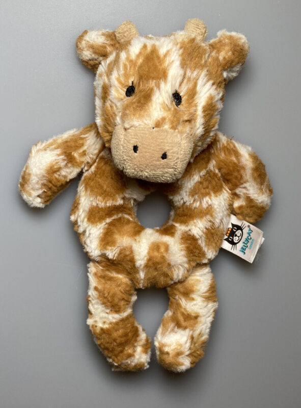 Little Jellycat Giraffe Plush Stuffed Ring Rattle Soft Baby Toy 6""
