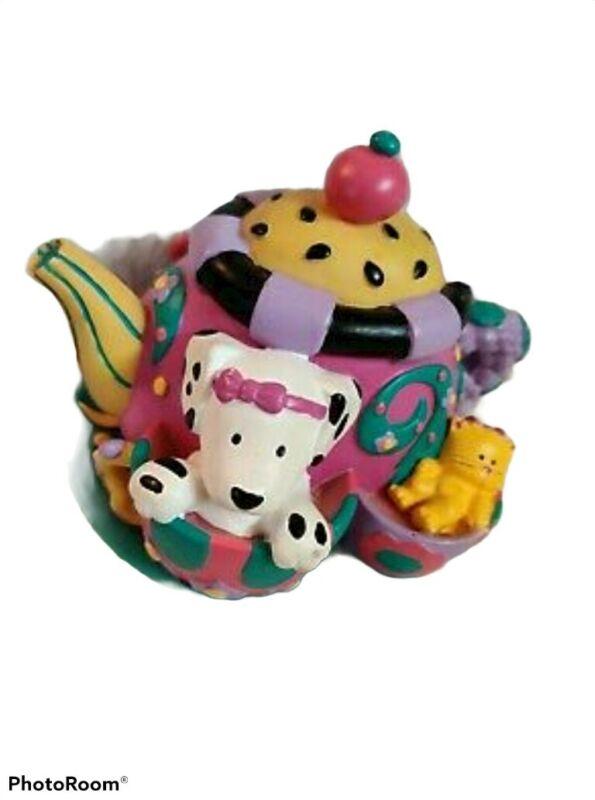 Spottie Dottie Dalmatian Penny Bank Tea Pot Tea Set shaped Vintage Rare  sanrio