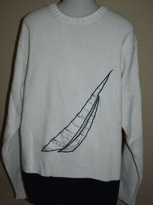 Mens NAUTICA Sweater Large Crewneck Sailing Sail Boat vintage nautical retro