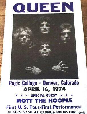"""Queen Concert Poster 1974 w/ Mott The Hoople - First US Tour - Denver CO 14""""x22"""""""