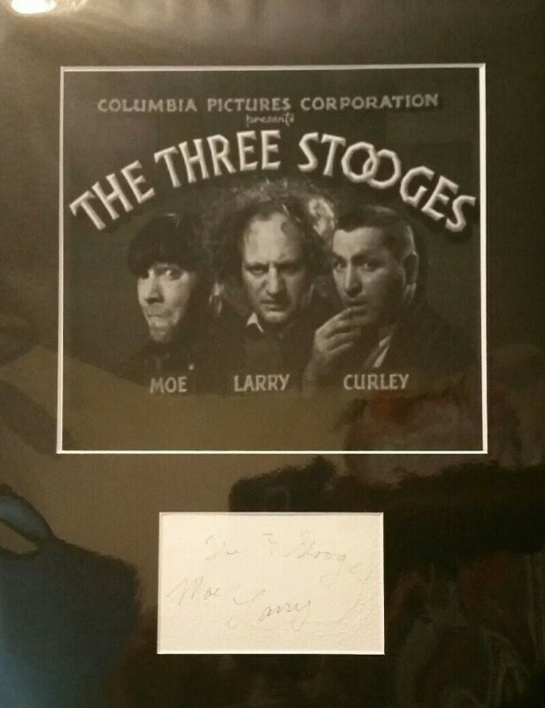 THREE STOOGES AUTOGRAPHS,MOE AND LARRY,ON THE SAME CARD,RARE,COMES WITH COA