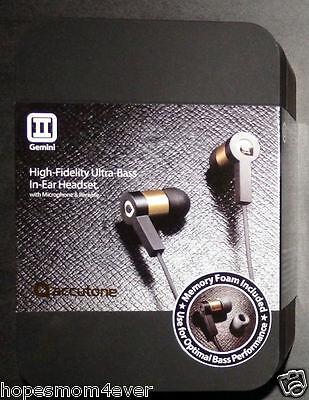 NEW - Accutone Gemini Ultra Bass In-Ear Headset Headphones Black/Gold FREE SHIP - Gemini Stereo Headphone