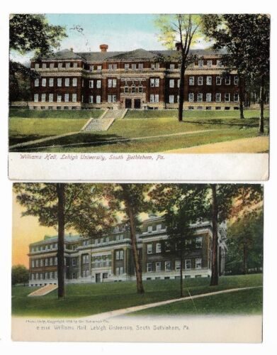 2 Early Postcards Lehigh University,Bethlehem PA: Williams Hall  Made in Germany