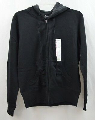 (Eddie Bauer Women's Black Purple Fleece Hoodie Jacket w/ Drawstring Size S)